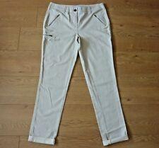 Next Ladies Chino Cream Grey Stripe Trouser Size UK 12XLong EU 40