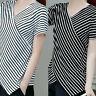 Fashion Ladies' Women Short Sleeved Irregularity Shirt  V-Neck Stripe Blouse