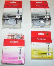 4 x Canon genuine 5/8 carts (PGI-5BK,CLI-8BK blk,-8M mag,-8Y ylw) - MP960,MP610+