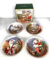 Pottery Barn Santa Journey Bowls Set of 4 Assorted Christmas