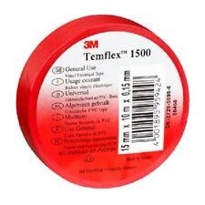 10 x Adhesifs Electricien 3M Temflex 1500 Rouge 15 mm x 10 m