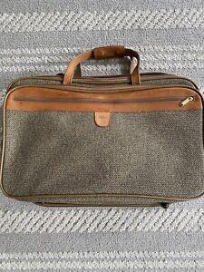 Vintage Rare Hartmann Tweed Olive Leather Suitcase Carryon