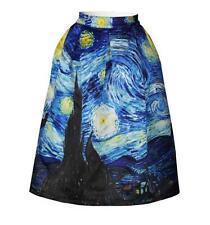 Woman Elastic High Waist skirt Van gogh sky Printed Knee Pleated Skirt