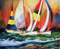 Sailboat Race Regatta Ocean Sea Spinnakers 20X24 Oil Painting Canvas STRETCHED