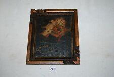 C212 Ancienne peinture marine - Bateau dans la tempête - signée