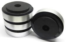 4x stabile Hifi-Gerätefüße schwarz/silber 55mm Boxenfüße Gummidämpfer rutschfest