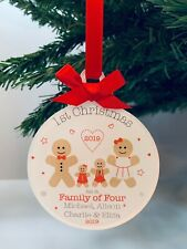 Personalised 1st First Christmas As A Family of 4 or 3 Tree Bauble Gingerbread
