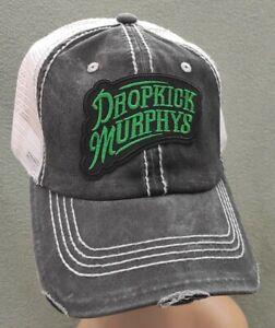 Dropkick Murphys Vintage Mesh Trucker Hat Distressed Black & White Mesh Hat