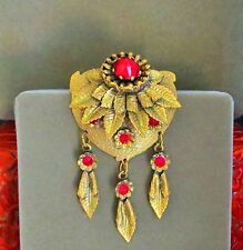 Divine antique unusual conus faceted red glass ornate brass charms brooch pin rt