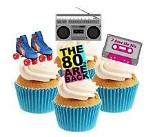Novelty Eighties 80's Mix 12 Edible Stand Up wafer paper cake toppers birthday