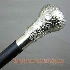Brass Walking Sticks in Rosewood with a Nickel Plated Brass Knob Handle 37'