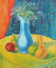 Impressionist oil painting still life with fruits and flowers signed