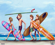ART  BEACH SURF PAINTING  andy baker bald art single fin fun