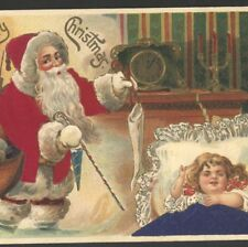 SILK SUIT,BLANKET..FATHER CHRISTMAS,SANTA FILLS SLEEPING GIRL STOCKING POSTCARD