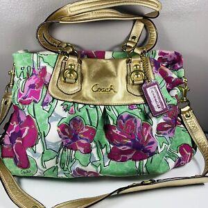 Coach Ashley Floral Iris Lavender Canvas purse Shoulder bag F16259