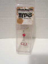 RED CHERRY'S  BELLY BUTTON RING  CZ MORBID METALS 14 GAGE