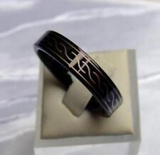 Wolfram/Tungsten Carbide anillo 6 mm de ancho Celtic negro recubierto Titan Hart