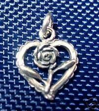 COOL Flower Rose Heart Charm I love you Sterling Silver .925 Jewelry New