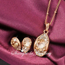 18K Rose Gold GP Teardrop NECKLACE EARRINGS SET With SWAROVSKI CRYSTAL 10031