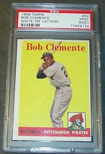 1958 TOPPS #52 BOB ROBERTO CLEMENTE PSA 9 O/C SHARP PIRATES POP 6