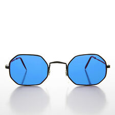 Blue Colored Lens Octagon 90s Vintage Sunglass Black Frame - Fairfax