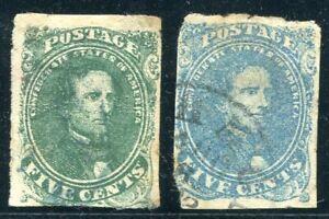Confederate States  -  Jefferson Davis, 5c green + blue, cancelled