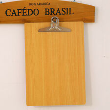 1X Wooden A4 File Paper Clip Wood Writing Board Document Clipboard School Office