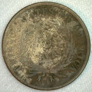 1867 US Two Cent Bronze Coin 2c United States Type Coin Good K61