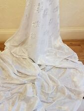 "5m white METALIC LACE ON SATIN FABRIC 58"" WIDE"