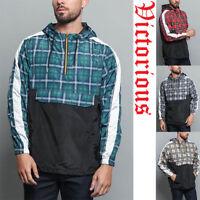 Men's Plaid Checkered Anorak Hoodie Windbreaker Jacket     S~5XL   JK5008 - I1A