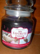 New Yankee Candle 13 oz Medium Jar Swirl Whiskers on Kittens, Warm Woolen Mitten