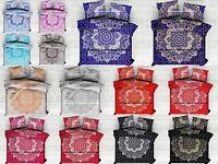 Ombre Mandala King Size Duvet Cover Indian Reversible Quilt Handmade Blanket Set