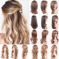 Hot Women Long Hair Full Wig Natural Curly Wavy Straight Ombre Synthetic Wigs Md