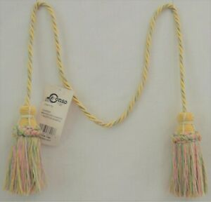 """Curtain & Chair Tie Back 27""""spread w/ 4"""" tassels - 1/4"""" cord - Yellow/Pink/Green"""
