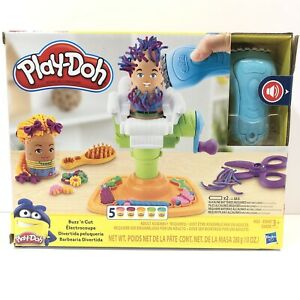 Play-Doh Buzz 'n Cut Barber Shop Set Toy with Electric Buzzer 5 Non-Toxic Colors