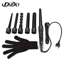 Hair Curler 6 In 1 Ceramic Pro Tongs Wand Interchangeable Iron Roller Set +GLOVE