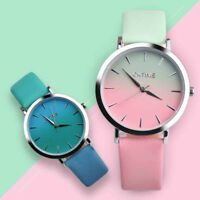 Fashion Womens Retro Rainbow Design Leather Band Analog Alloy Quartz Wrist Watch
