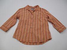 COLUMBIA T7823 Women's Size M Outdoor Athletic Stripe Orange Button Down Shirt