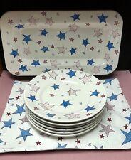 "Eddie Bauer Home Red & Blue Stars-6 Dinner Plates 19"" Platter 6 Cloth Placemats"