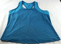 Reebok Women's Tank Top Blue Workout Sleeveless Built In Bra Athletic Size XL