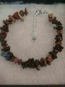 New Natural Jasper Chip Gemstone Bracelet With Love Heart Charm