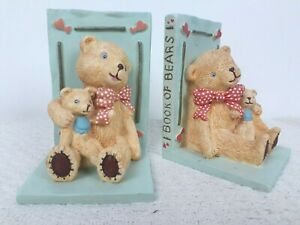 Book Of Bears Ceramic Heavy Book Ends Nursery Library Shelves Country House Ted