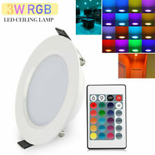 3W RGB LED Ceiling Fixtures Light Recessed Panel Downlight Spot Lamp + Remote