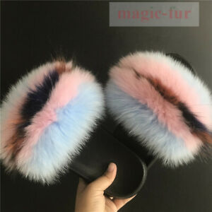 Blue Pink Multicolored Real Fox Fur Slides Slippers Beach Fur Sandals Shoes