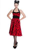 Hell Bunny Red Black Bat Gothic Rockabilly Halloween 50's Dress XS-L