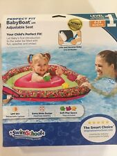 Swim School Perfect Fit Baby Boat w/ Adjustment Seat, Pink and Green, 6-24 Mts