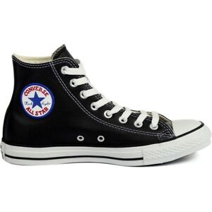 Converse Chuck Taylor All Star High Top Leather Classic Black Shoes 1S581 Sz 8.5
