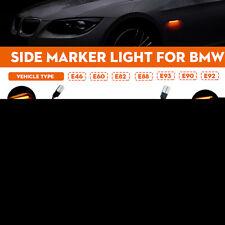Pair Side Marker Lights Repeater Indicator LED Lamps For BMW E46 E60 E82 E88