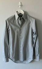 CALVIN KLEIN COLLECTION Grey Striped Cotton Button-Up - Mens Size 37 / 14.5 Neck