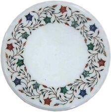 14 Inches Round Bed Side Table White Coffee Table Top Pietra Dura Art at Border